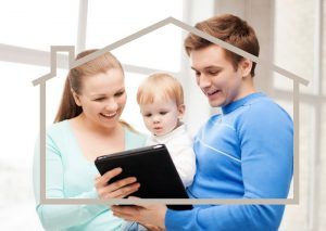 family-child-tablet-home-outline